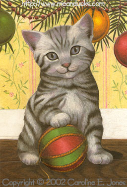 Furry Fellows Gray Tabby Kitten with Ornament