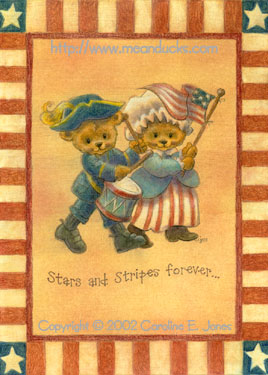 Beary Patriotic greeting card concept